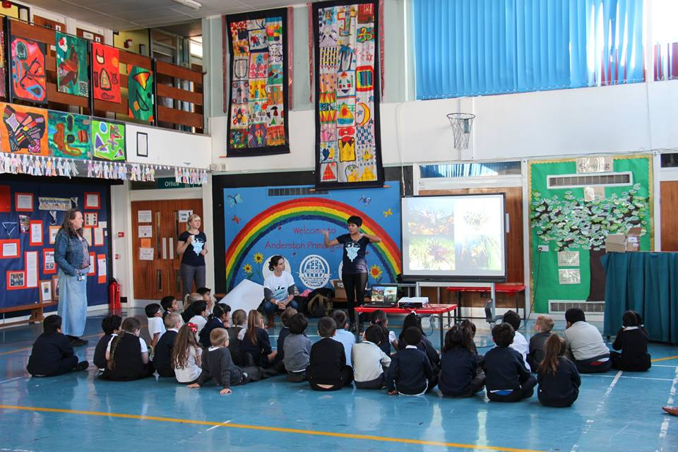 Photo IMCC3 community outreach team at Anderston Primary School in Glasgow