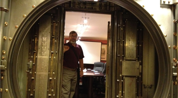 Photo LOC Chair John Cigliano at SpringHill Suites, an ICCB hotel & former bank (in vault)!