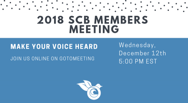 Join us online for the 2018 SCB Members Meeting!